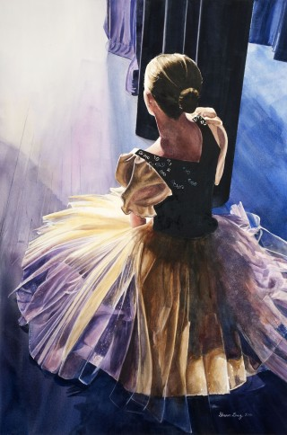 "Sharon Grey, Backstage, watercolor, 26"" x 34"" – 1st Place Winner 2016"